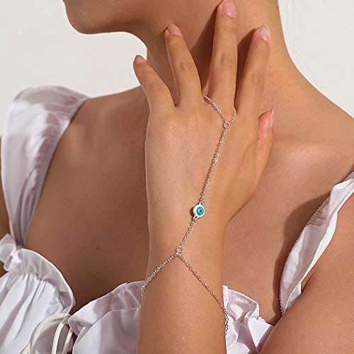 Handcess Boho - Pulseras de oro para el mal de ojo, arnés de mano, anillos de dedo, accesorios para mujeres y niñas