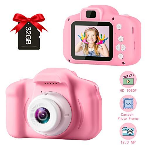 GKTZ Kinder Kamera KinderDigital Kamera Kamera Spielzeug 2 Zoll HD-Bildschirm 1080P mit 32 GB Speicherkarte Jungen Mädchen 3-10 Jahre Geburtstagsgeschenke Spielzeug für Kinder (Pink)