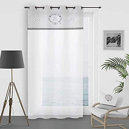 Soleil d'ocre Esprit de Famille Voilage, Coton, Blanc, 135 x 250 cm