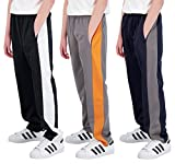Real Essentials 3 Pack: Boys Active Tricot Sweatpants Track Pant Basketball Athletic Fashion Teen Sweat Pants Soccer Casual Girls Lounge Open Bottom Fleece Tiro Activewear Training -Set 6,S (8-10)
