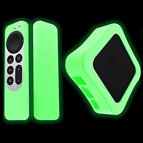 Estuche para Control Remoto y Estuche para TV Compatible con Apple TV 4K,Protector de Cuerpo Completo de Silicona a Prueba de Golpes a Prueba de Polvo para Apple TV 4K 6th Gen Siri (Luminous Green)