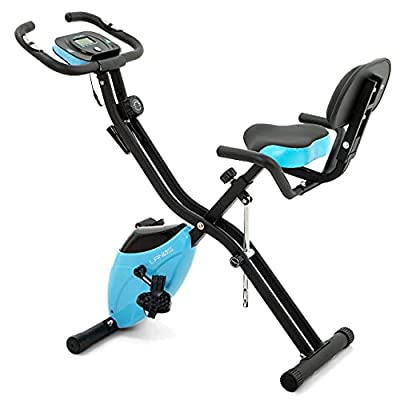 Folding Exercise Bike with 10-Level Adjustable Magnetic Resistance   Upright and Recumbent Foldable Stationary Bike is the Perfect Workout Bike for Home Use for Men, Women, and Seniors (Black/Blue)