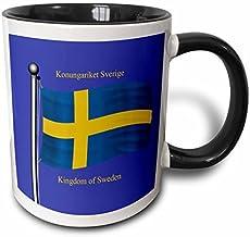 Queen54ferna Flaga Szwecji z Królestwem Szwecji w języku angielskim i szwedzkim. Dwukolorowy czarny kubek, 325 ml, wieloko...