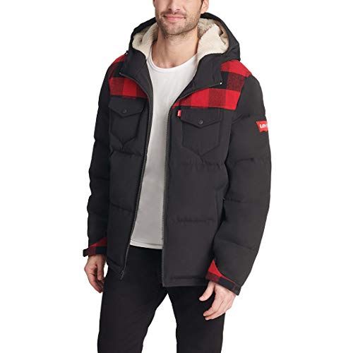 Levi's Men's Heavyweight Mid-Length Hooded Military Puffer Jacket, Red Buffalo Plaid/Black, Small