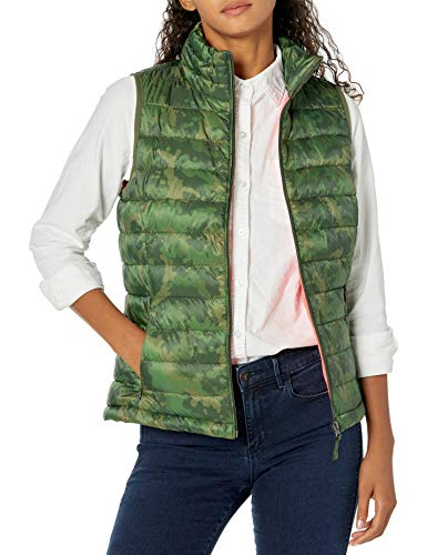 Amazon Essentials Lightweight Water-Resistant Packable Puffer Vest Chaleco de plumón, Verde, Camuflaje, M