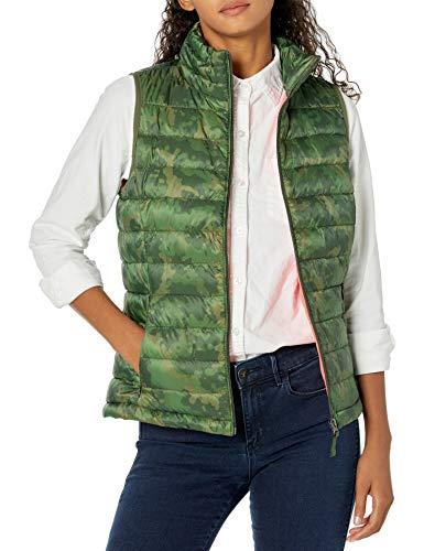 Amazon Essentials Women's Lightweight Water-Resistant Packable Puffer Vest, Green Camo, X-Large