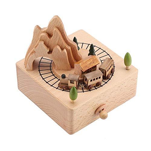 HERCHR Caja de música de Madera con Tren pequeño en Movimiento, Caja de música de Madera, Regalos de cumpleaños y Navidad, decoración del hogar para niños, niñas y niños
