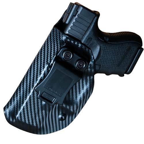 Black Jacket Holsters for Glock 17/22 | Inside Waistband Concealed Carry Holster | IWB KYDEX Adjustable Retention & Full Sweat Shield (Carbon Fiber Left, Glock 17/22)