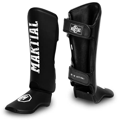 Martial Schienbeinschoner mit perfektem Sitz und idealer Polsterung! Schienbein-Schutz mit geringer Schweißentwicklung. Beinschützer für Kampfsport, MMA, Kickboxen + Beutel