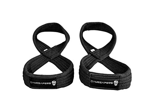 Gymreapers Figure 8 Lifting Straps for Deadlift, Powerlifting, Strongman, Cross Training Strong Weightlifting Wrist Straps for Men, Women (Black, Large)