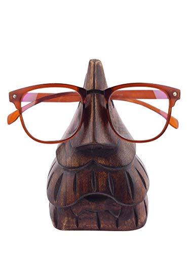 STORE INDYA Regali di Natale, Intagliato A Mano Supporto per Occhiali in Legno con Naso E Forma Barba Occhiali Banco di Mostra per Accessori Arredamento Casa Ufficio