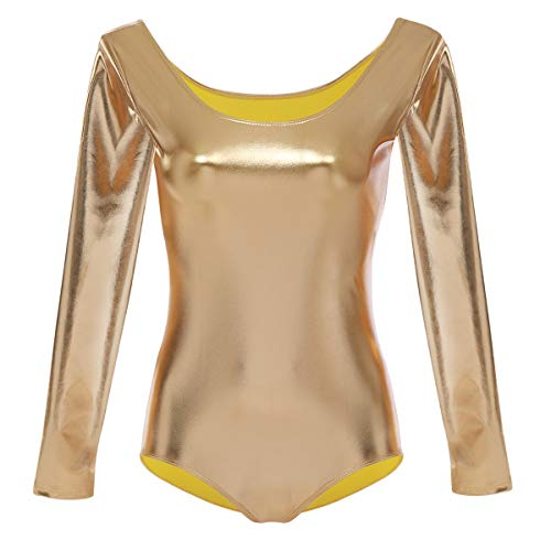 OBEEII Maillot de Gimnasia Leotardos Danza Ballet Gimnasia Dancewear Clásico Oro XL