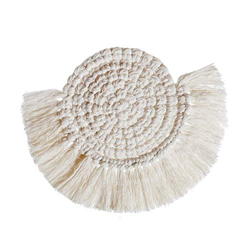 Coaster Hot Non-Slip Round Cup Mats Bohemian Cotton Rope Woven Heat Insulation Eco-Friendly Tea Coaster Home Pot Holder Knitting Cup Mat (Color : 02, Size : Round)
