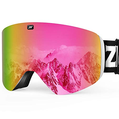 ZIONOR X11 Ski Snowboard Snow Goggles with Magnetic Interchangeable Cylindrical Lens Anti-Fog UV Protection for Men Women Adult (VLT 15% Clear Rose Lens)