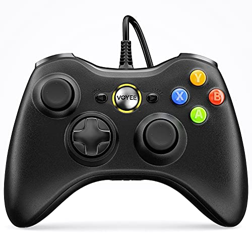 VOYEE Wired Controller Compatible with Microsoft Xbox 360 & Slim/PC Windows 10/8/7, with Upgraded Joystick, Double Shock | Enhanced (Black)