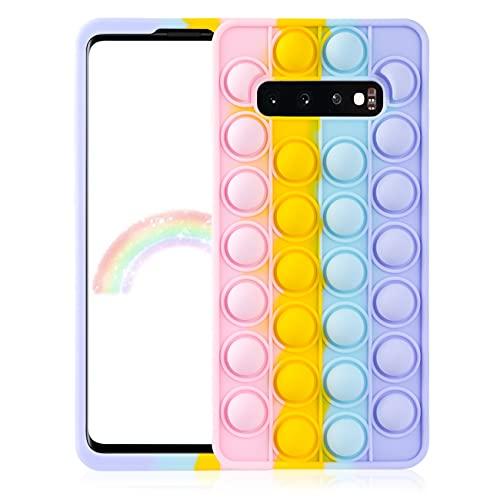 Qerrassa Color Bubble Silikon Hülle für Samsung Galaxy S10,Fälle Spaß Entwerfen Handyhülle Fidget für Kinder Mädchen Jungs Schutz Ultra Dünne Süß Komisch Mode Fälle für Samsung Galaxy S10