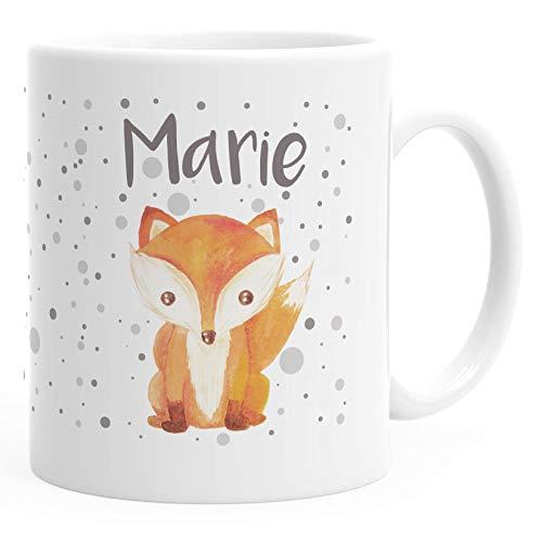 SpecialMe® Namenstasse personalisierte Kaffee-Tasse mit Namen Fuchs Motiv persönliche Geschenke weiß Keramik-Tasse