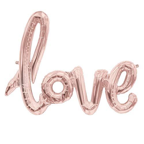 Wakerda 1 piezas de papel de aluminio Globos Color sólido Carta inglesa Surtido de color Banquete de boda Globos Decoraciones Fiesta perlada Decoración de globos Fiesta de cumpleaños 'Love'(Oro Rosa)