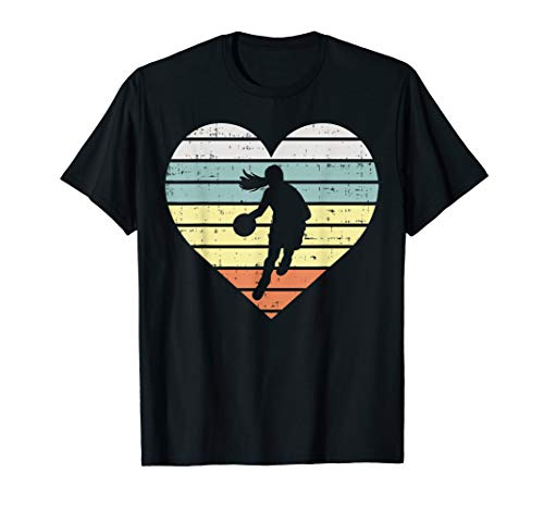 Heart Basketball Girl Retro Ball Sports Player Women Gift T-Shirt