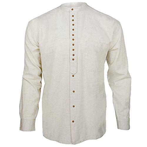 Civilian Irish Grandfather Collarless Shirt - Cotton/Linen Blend (Stone, XL)