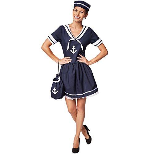 TecTake dressforfun Frauenkostüm Seemanns-Frau | Wunderschönes Kleid im Marinelook | Ideales Kostüm für Fasching | Inkl. passendem Hut (M | Nr. 301519)