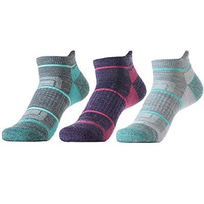 SOLAX 72% Women's Merino Wool Hiking Socks, Outdoor Trail ,Trekking, Cushioned, Breathable Low Cut Ankle Socks 3 Pack (M,Asst141)