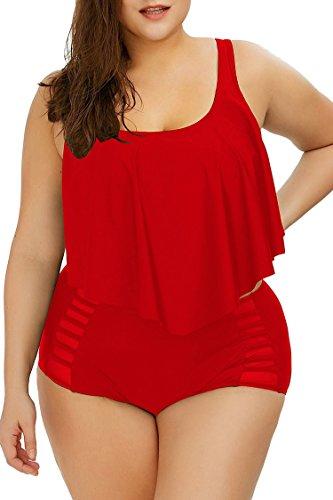 Viottiset Damen Plus Size Bademode mit Rüschen Highcut Badeanzug Bikini für Mollige XL Saphirblau