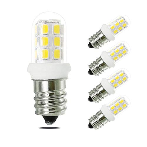 E12 Led Bulbs, XRZT 1.6W LED C7 Night Light Bulbs with E12 Candelabra Base, 120V Non-Dimmable White 6000K, 15-20W Salt Lamp and Night Light Replacement Bulb, 5 Pack
