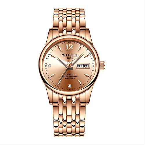 Uhren, Uhren-stahlarmbänder, Doppel-Kalender-quarzuhren, Nachtlicht Wasserdicht, Frische Damenuhr, Legierung Uhr, 10 Stile Zur Auswahl verstellbar Rose Shell Rose Gold Nudel 5#
