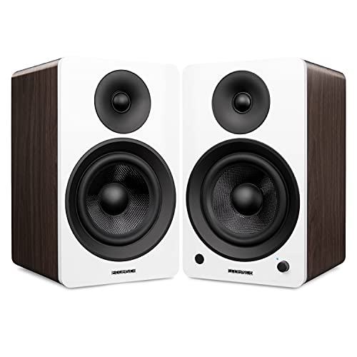 """Fluance Ai61 Powered 2-Way 2.0 Stereo Bookshelf Speakers with 6.5"""" Drivers, 120W Amplifier for Turntable, TV, PC and Bluetooth 5 Wireless Music Streaming - RCA, Optical, USB & Sub Out (White Walnut)"""