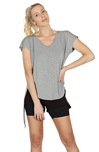 icyzone Open Back Workout Tops for Women - Athletic Activewear T-Shirts Exercise Yoga Shirts(Pack of 2) (M, Black/Grey)