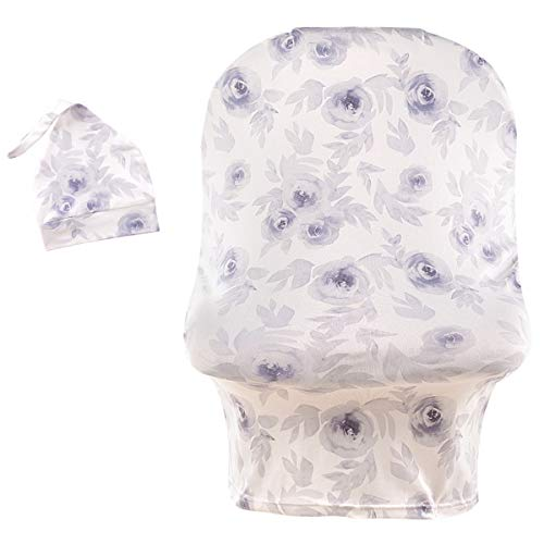 Stretchy Car Seat Cover with Hat Nursing Cover Breastfeeding Cover Ups Soft Breathable Carseat Canopy for Baby Boy Girl with Cute Beanie Flowers