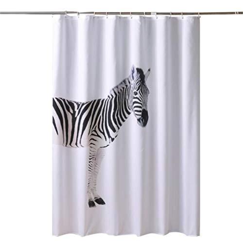 #N/A QIWei Zebra Schwarz Textil Duschvorhang Stoff Stoff Badezimmer Dekor Set Aquarell Zebra Kunst Dekor mit Haken