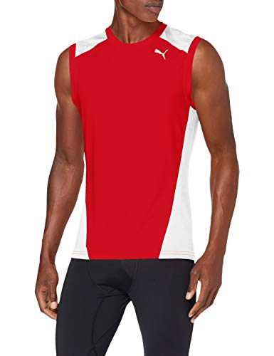 Puma Cross The Line Sleevelesstop Camiseta, Hombre, Red White, XL