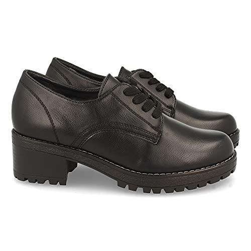 61297-Zapato de Tacon para Mujer, Comodos, con Cierre de Cordones, Otono Invierno 2021. Talla 38 Negro