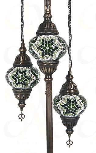 Stehlampen & Lampenschirme – Atemberaubende türkische & marokkanische Mosaik, grüne Stehlampe, 3 mittelgroße Globe + LED-Leuchtmittel