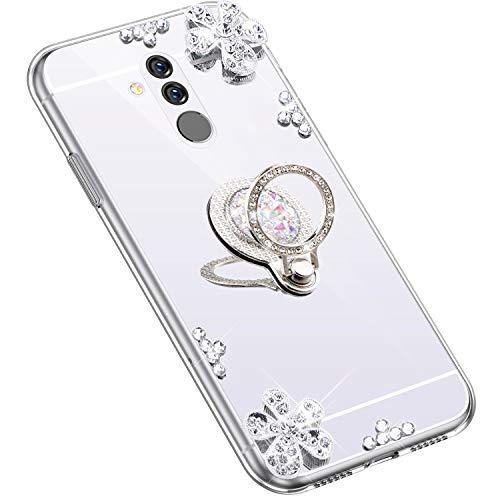 Uposao Kompatibel mit Huawei Mate 20 Lite Hülle Glitzer Diamant Glänzend Strass Spiegel Mirror Handyhülle mit Handy Ring Ständer Schutzhülle Transparent TPU Silikon Hülle Tasche,Silber