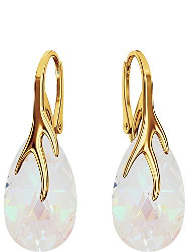 Crystals & Stones Silber 925/Vergoldet 24 K *MANDEL* - *Farben Varianten* Schön Damen Ohrringe Silber 925 - mit Kristallen von Swarovski - Wunderbare Ohrringe mit Geschenkbox BAP39 (Blue AB)