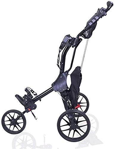 Carrito de Golf Carretilla de 3 ruedas 3 ruedas Carrito de empuje de golf, freno de pie con bolso de mano paraguas soporte golf carro de golf, un segundo para abrir y cerrar carro plegable, carro pleg