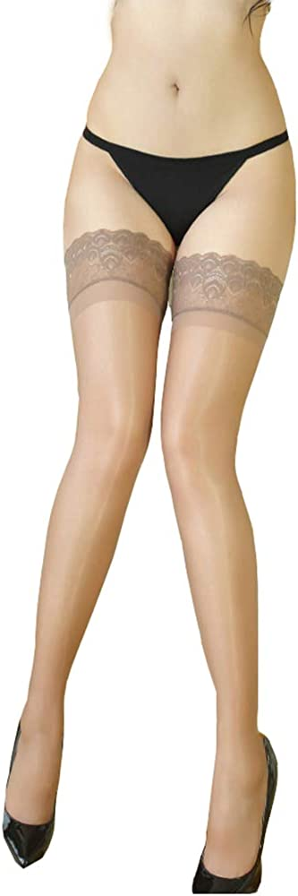 Women's Ultra Shimmery Lace Top Thigh High Sheer Stockings Antiskid Silicone Shiny Sexy Lace Pantyhose