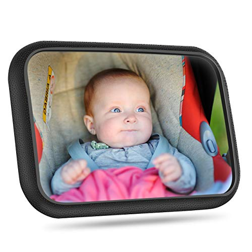 [Actualizado]Espejo Retrovisor Coche Para Bebé, OMORC Gran Tamaño Ver Su Bebé En Asiento Trasero, Espejo Coche Bebé Con Correas Elásticas Ajustables, 360° Rotación, Vista Amplia, Fácil Instalación