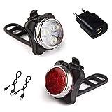 AMANKA Luces Bicicleta Recargable LED, Luz para Bicicleta por USB Conjunto de Luces Delantera y Trasera para Bicicleta 4 Modo 650mAh Reflector Bici Seguridad Faro de Señal