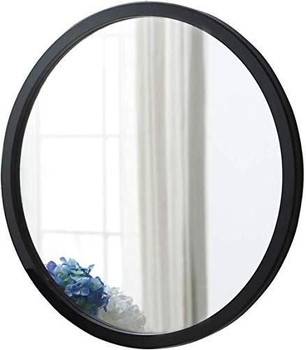 NYDZDM Houten paneel met wandframe, rond, spiegel met zilveren badkamer, drijvend, cosmeticaspiegel voor badkamer, woonkamer, slaapkamer