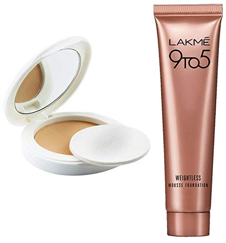 Lakme Perfect Radiance Compact, Ivory Fair 01, 8g And Lakme 9 to 5 Weightless Mousse Foundation, Rose Ivory, 6g