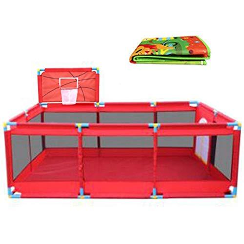 FFYN Parque para niños Corralitos Extra Grandes para Gemelos, los niños viajan con tapete, área de Juegos para niños de Tela Oxford roja (tamaño: 128 y Tiempos; 190 y Tiempos; 66 cm)