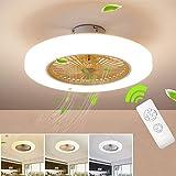 Ventilador de techo Lámpara de techo, moderna LED Ventilador De Techo Control remoto de correa regulable Decoración de interiores Plafón de techo lluminación