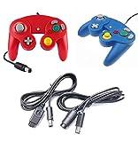 DARLINGTON & Sohns Juego de 2 mandos de color rojo y azul + cable de extensión para Nintendo Game Cube Controller GC Extensión para Nintendo Wii Cable