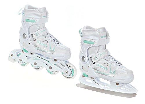 Raven 2in1 Schlittschuhe Inline Skates Inliner Spirit White/Mint verstellbar Größe: 37-40 (23,5cm-26cm)