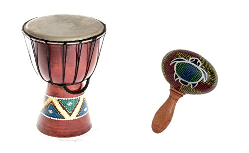 40cm Anfänger Djembe Trommel Bongo Drum Holz Bunt Bemalt + Rassel Schildkröte R1