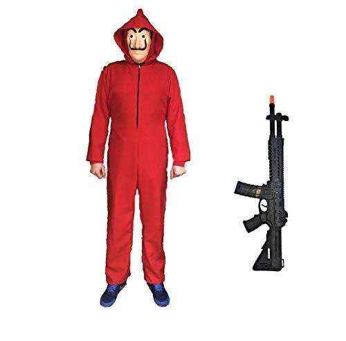 LBA Disfraz inspirado en una famosa serie de televisión. No es el ORIGINAL. Compuesto de Mono rojo y Máscara. (Talla 12 Años)